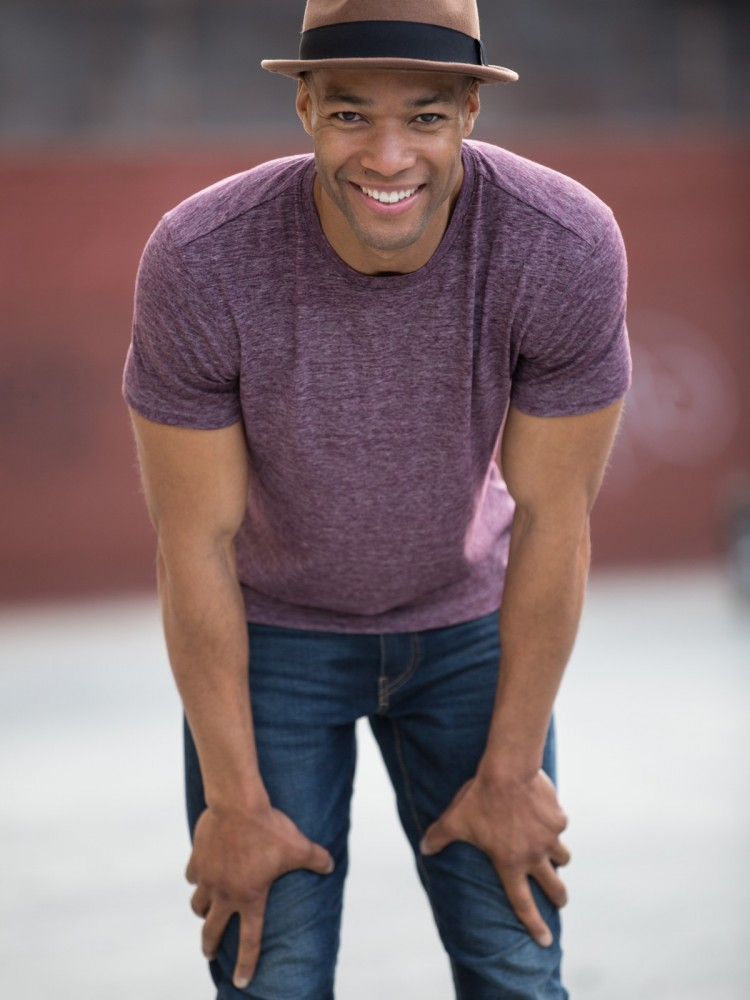 Casual Purple Shirt Smiling